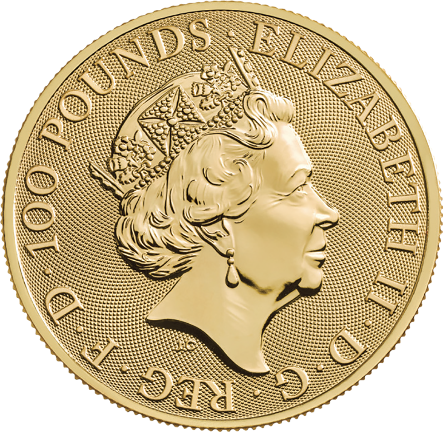 2019 UK Queen's Beasts The Yale of Beaufort 1oz Gold Coin - Full Tube of 10 Coins (Image 3)
