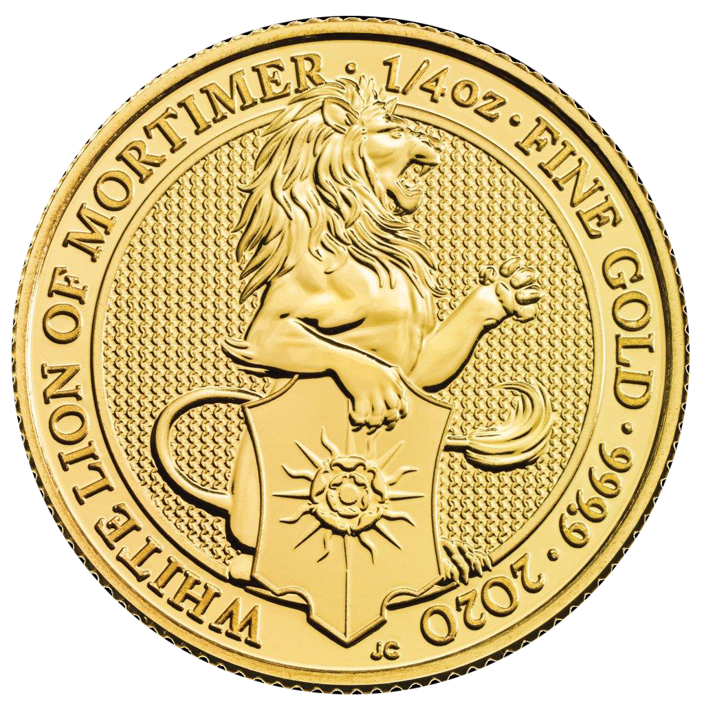 2020 UK Queen's Beasts The White Lion of Mortimer 1/4oz Gold Coin - Full Tube of 25 Coins (Image 2)