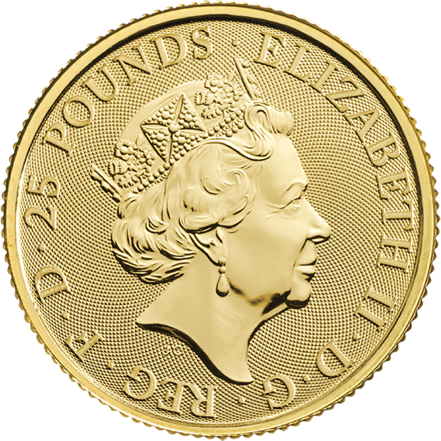 2020 UK Queen's Beasts The White Lion of Mortimer 1/4oz Gold Coin - Full Tube of 25 Coins (Image 3)
