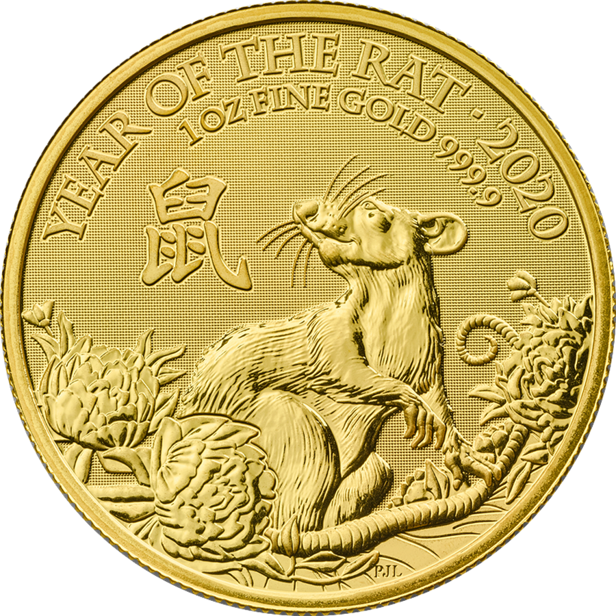 2020 UK Lunar Rat 1oz Gold Coin with Gift Box & Certificate (Image 2)