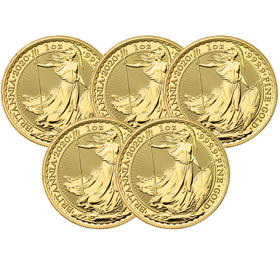 2020 UK Britannia 1oz Gold 5 Coin Bullion Bundle (Image 1)