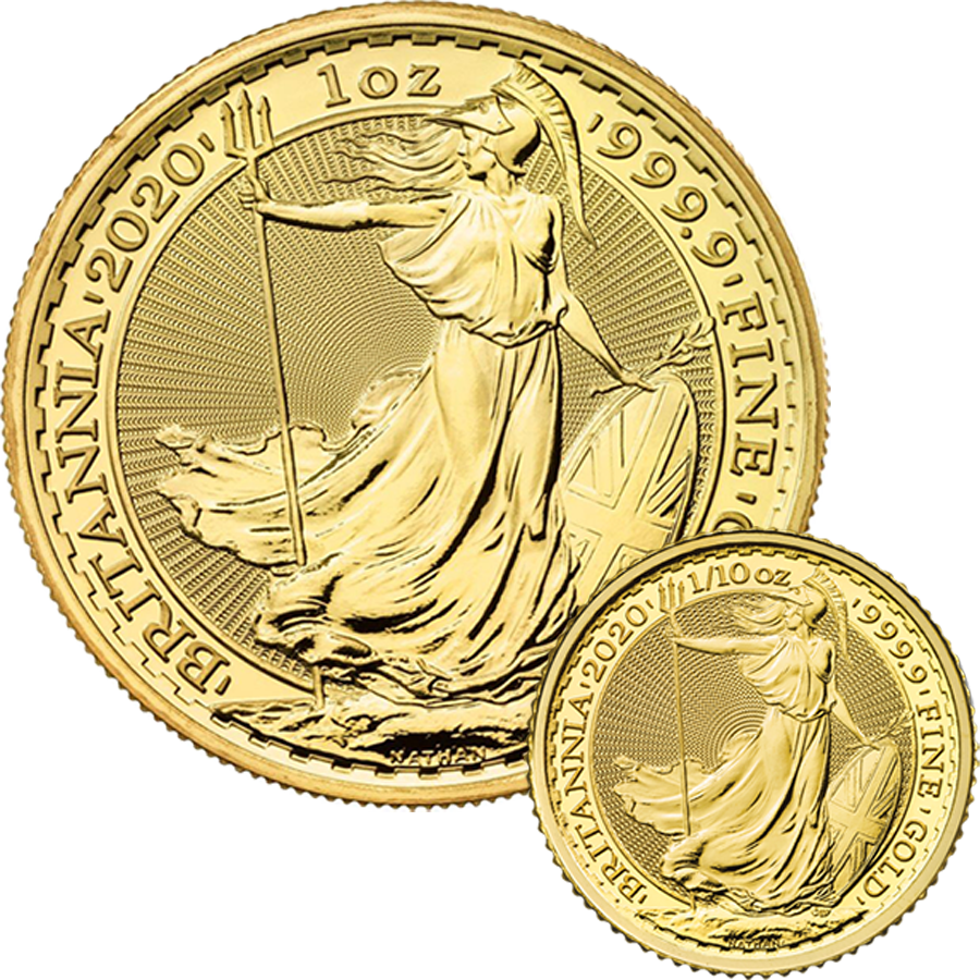 2020 UK Britannia 1oz & 1/10oz Gold Coin Collection