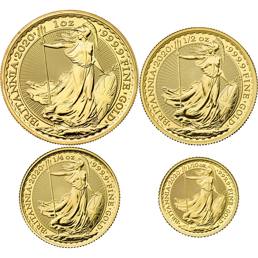 2020 UK Britannia 1oz, 1/2oz, 1/4oz & 1/10oz Gold Coin Collection