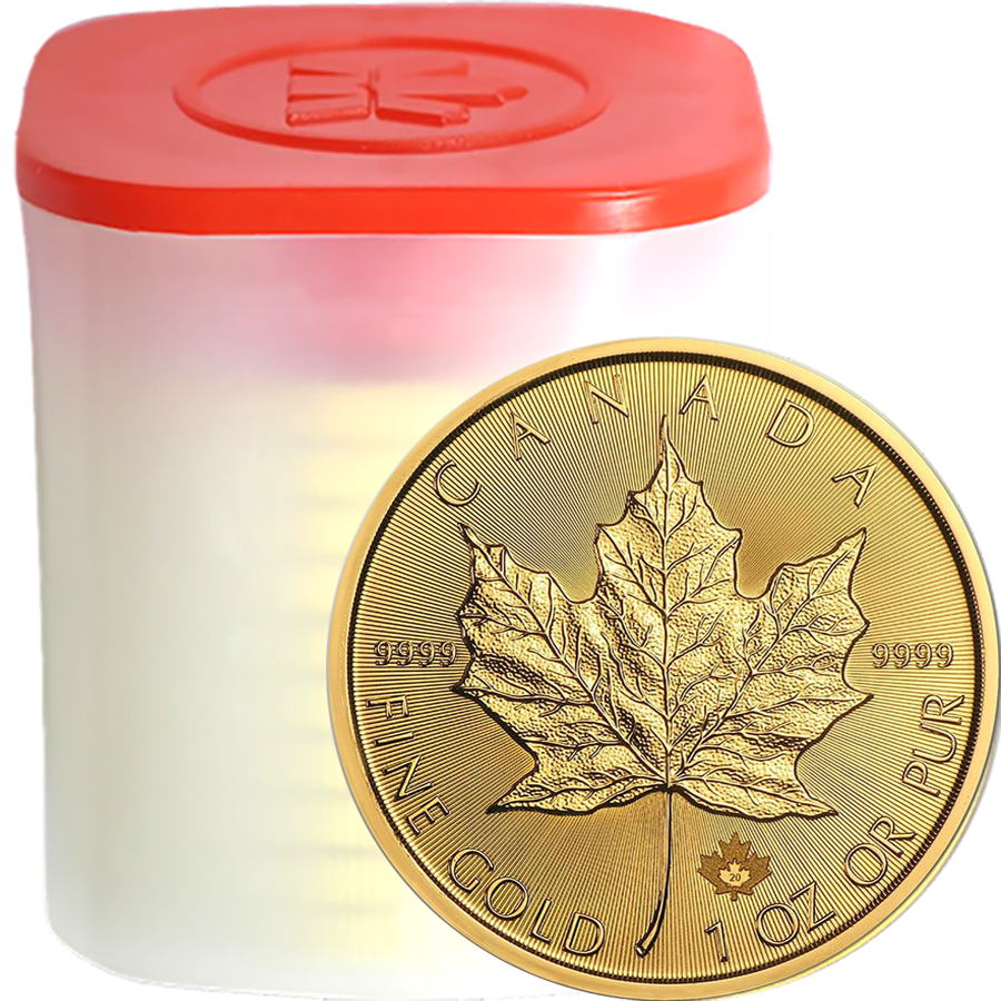 2020 Canadian Maple 1oz Gold Coins - Full Tube of 10 Coins