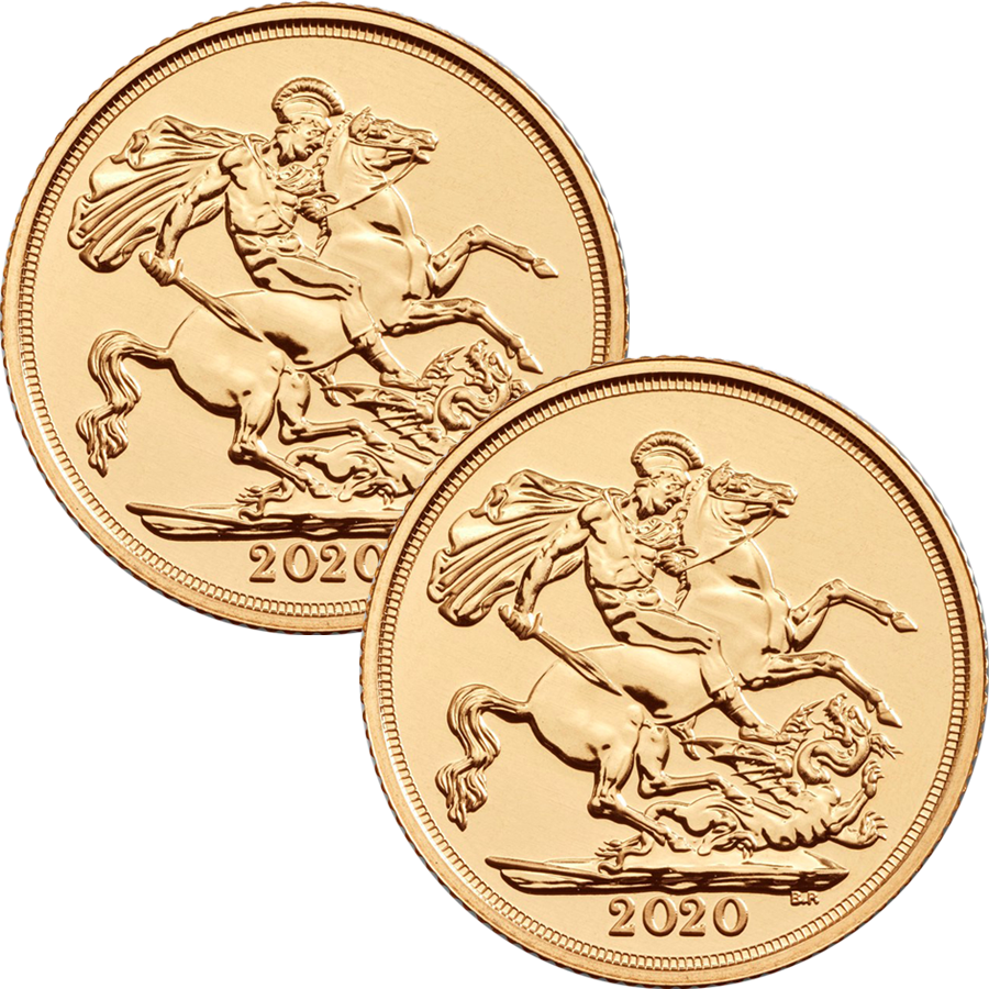 2020 UK Full Sovereign Gold 2 Coin Bullion Bundle