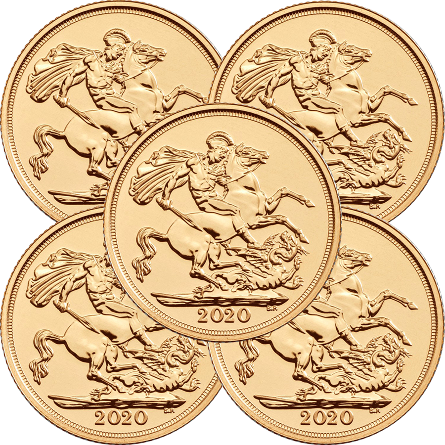 2020 UK Full Sovereign Gold 5 Coin Bullion Bundle