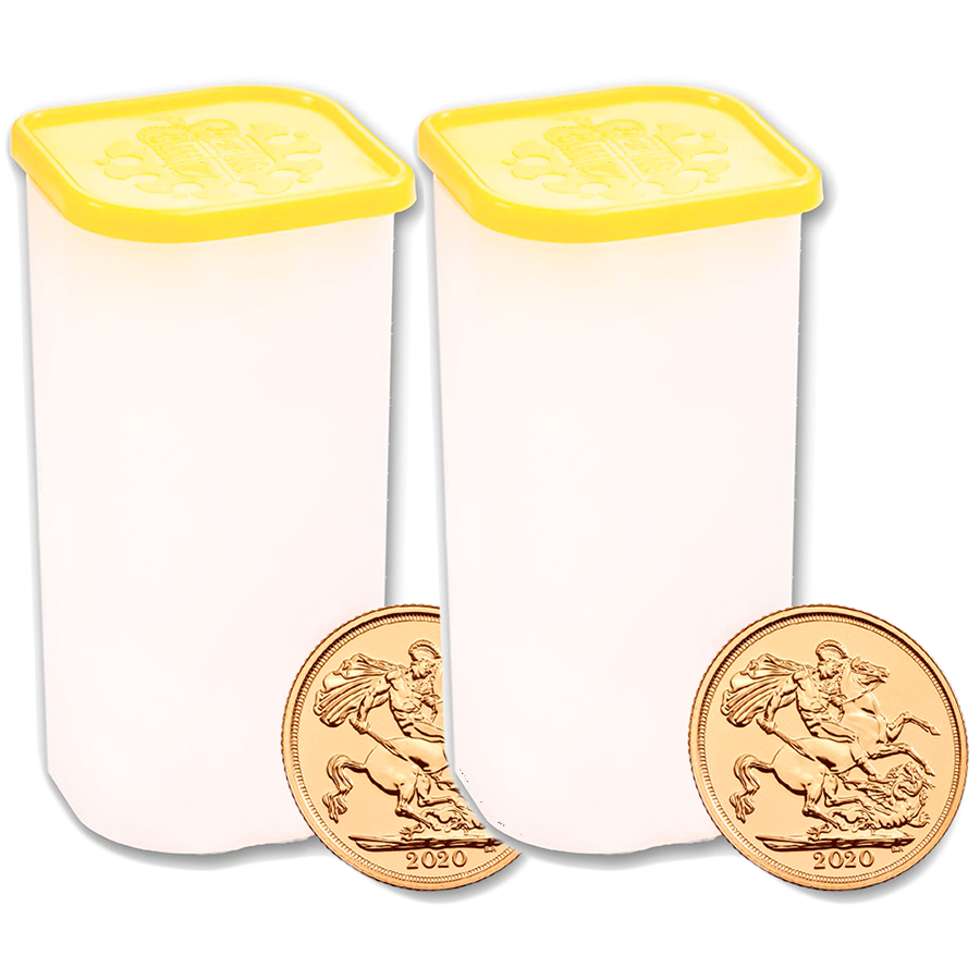 2020 UK Full Sovereign Gold Coins - 2 x Full Tubes of 25 Coins