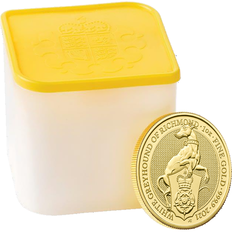 2021 UK Queen's Beasts The White Greyhound of Richmond 1oz Gold Coin - Full Tube of 10 Coins
