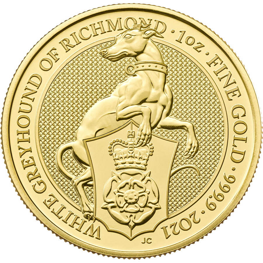 2021 UK Queen's Beasts The White Greyhound of Richmond 1oz Gold Coin - Full Tube of 10 Coins (Image 2)