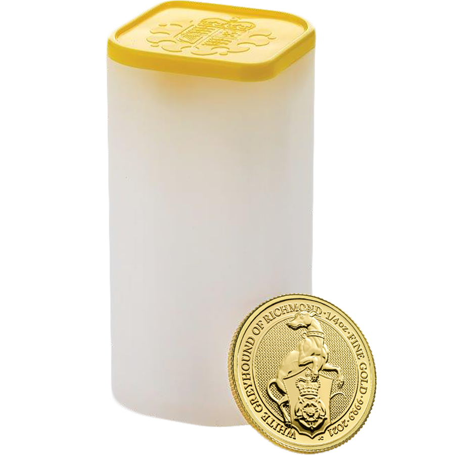 2021 UK Queen's Beasts The White Greyhound of Richmond 1/4oz Gold Coin - Full Tube of 25 Coins