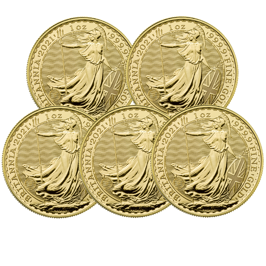 2021 UK Britannia 1oz Gold 5 Coin Bullion Bundle