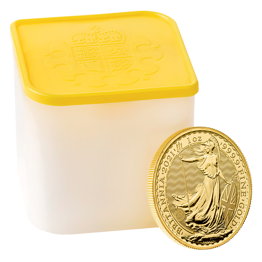 2021 UK Britannia 1oz Gold Coins - Full Tube of 10 Coins