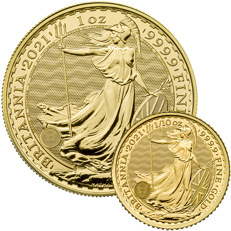 2021 UK Britannia 1oz & 1/10oz Gold Coin Collection