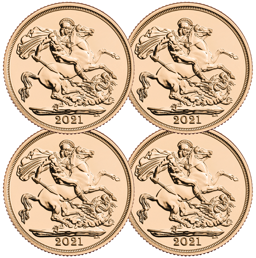 2021 UK Full Sovereign Gold 4 Coin Bullion Bundle