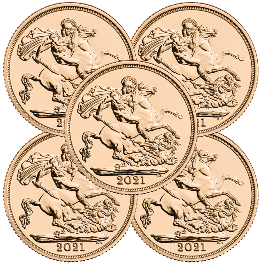 2021 UK Full Sovereign Gold 5 Coin Bullion Bundle
