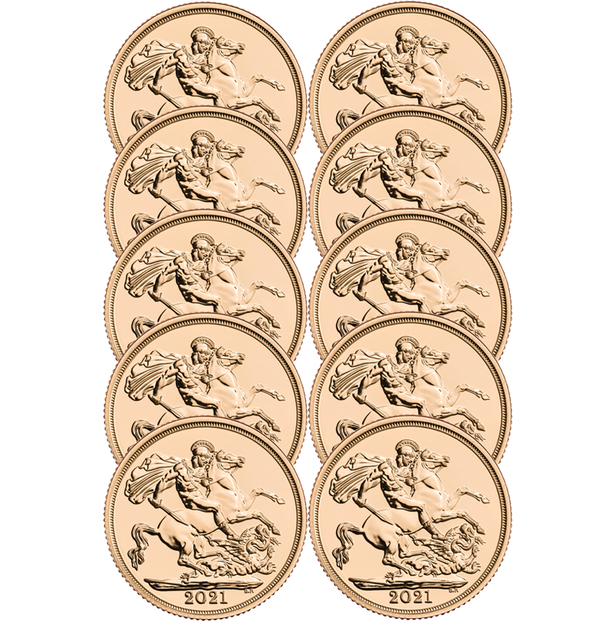 2021 UK Full Sovereign Gold 10 Coin Bullion Bundle (Image 1)