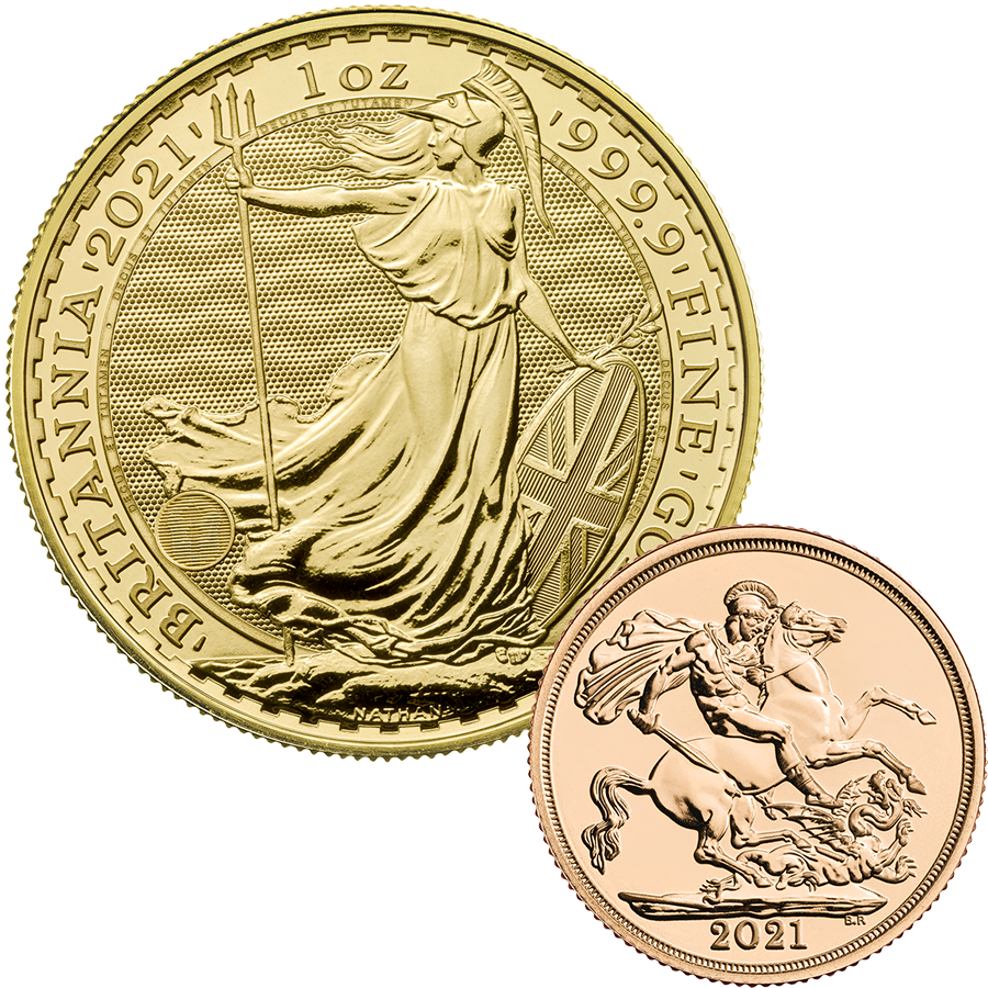 2021 UK Full Sovereign & 2021 Britannia 1oz Gold Coin Collection