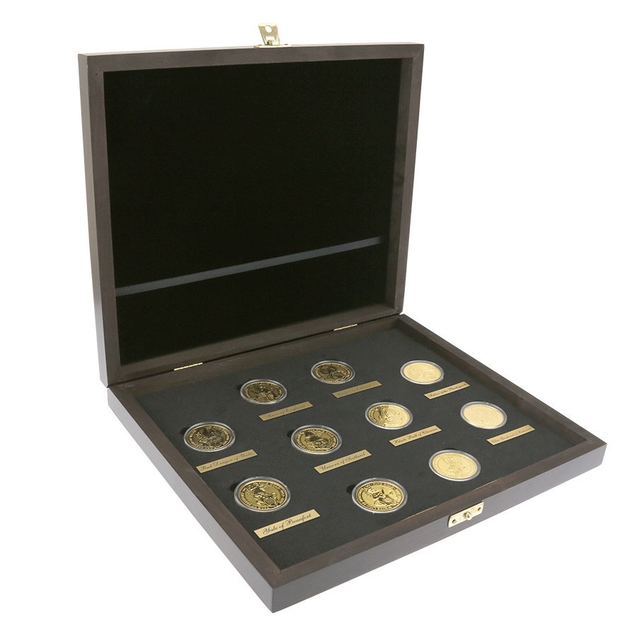 Pre-Owned UK Queen's Beasts 1oz Gold Coin Full Collection in Wooden Presentation Box (10 Coins)