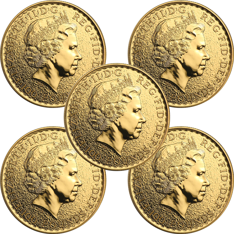 Pre-Owned Post 2012 UK Britannia 1oz Gold Coin - Mixed Dates Bullion Bundle (5 Coins) (Image 2)