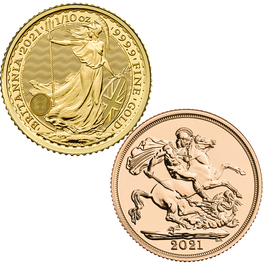 2021 UK Full Sovereign & Britannia 1/10oz Gold Coin Collection