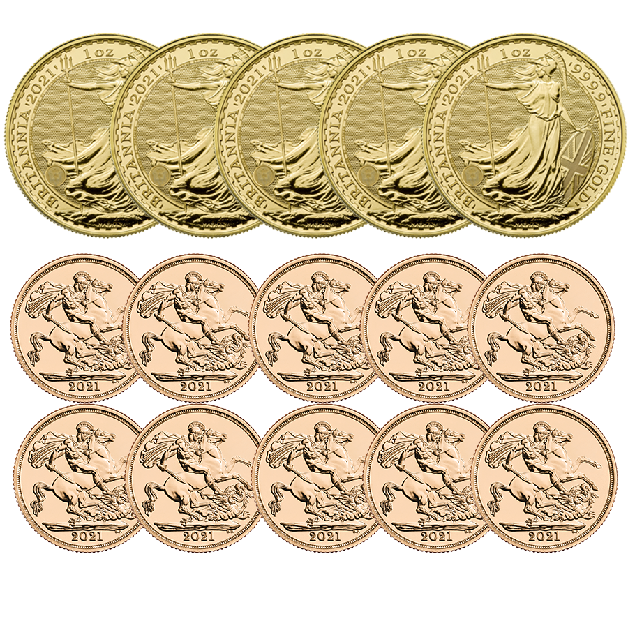 2021 UK 5x Britannia 1oz Gold Coins & 10x Full Sovereign Gold Coins Bundle