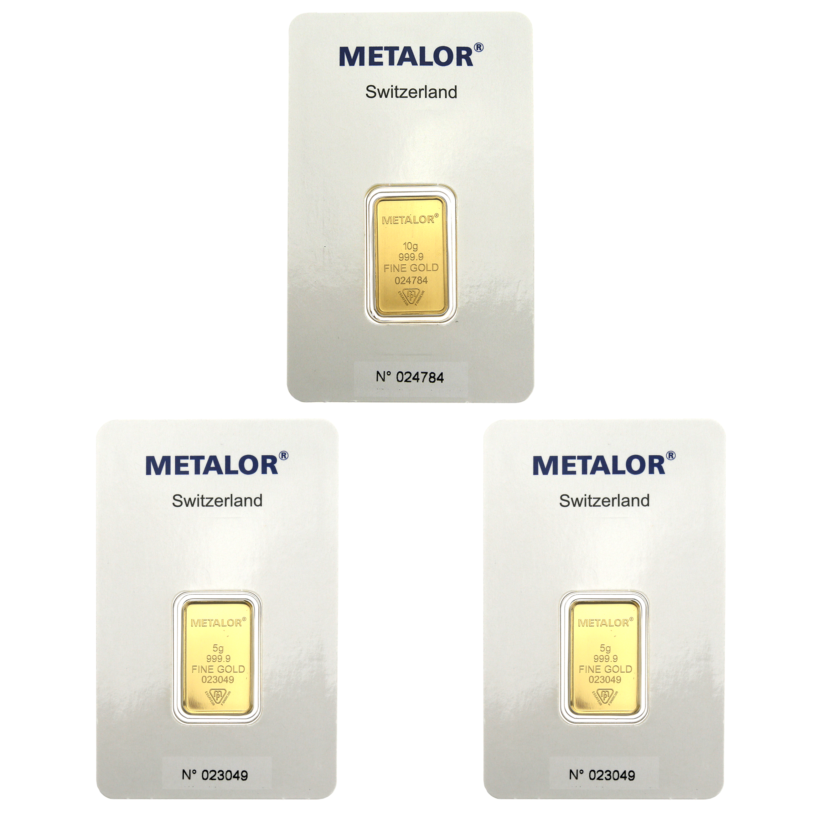 Metalor Stamped 5g & 10g Gold 3 Bar Bundle (Image 1)