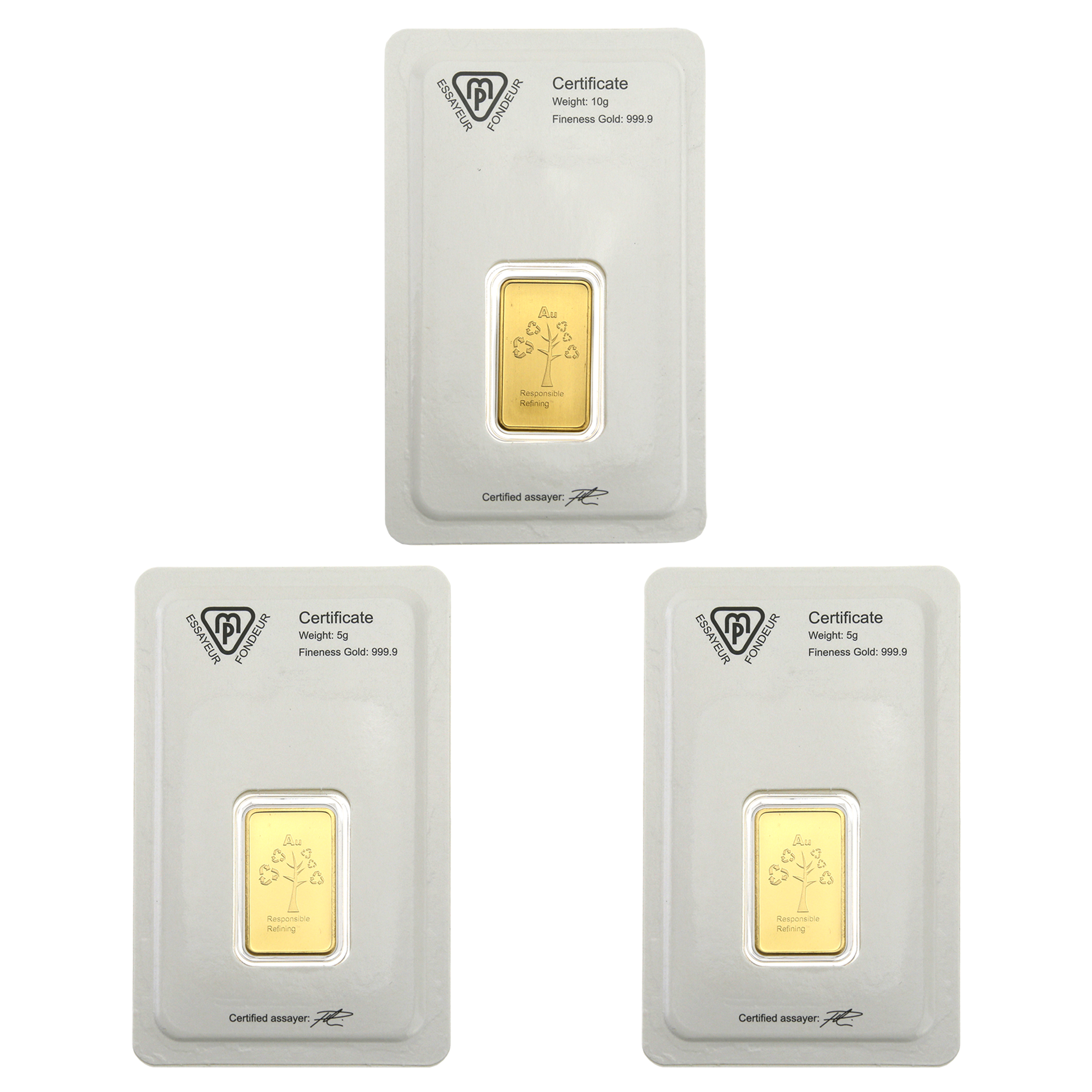 Metalor Stamped 5g & 10g Gold 3 Bar Bundle (Image 2)