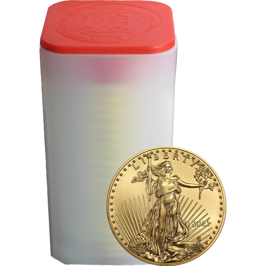 2021 USA Eagle 1oz Gold Coins - Full Tube of 10 Coins