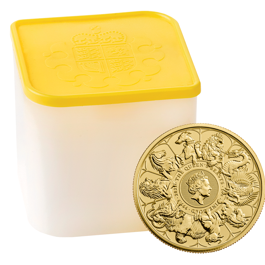2021 UK Queen's Beasts Completer 1oz Gold Coin - Full Tube of 10 Coins (Image 1)