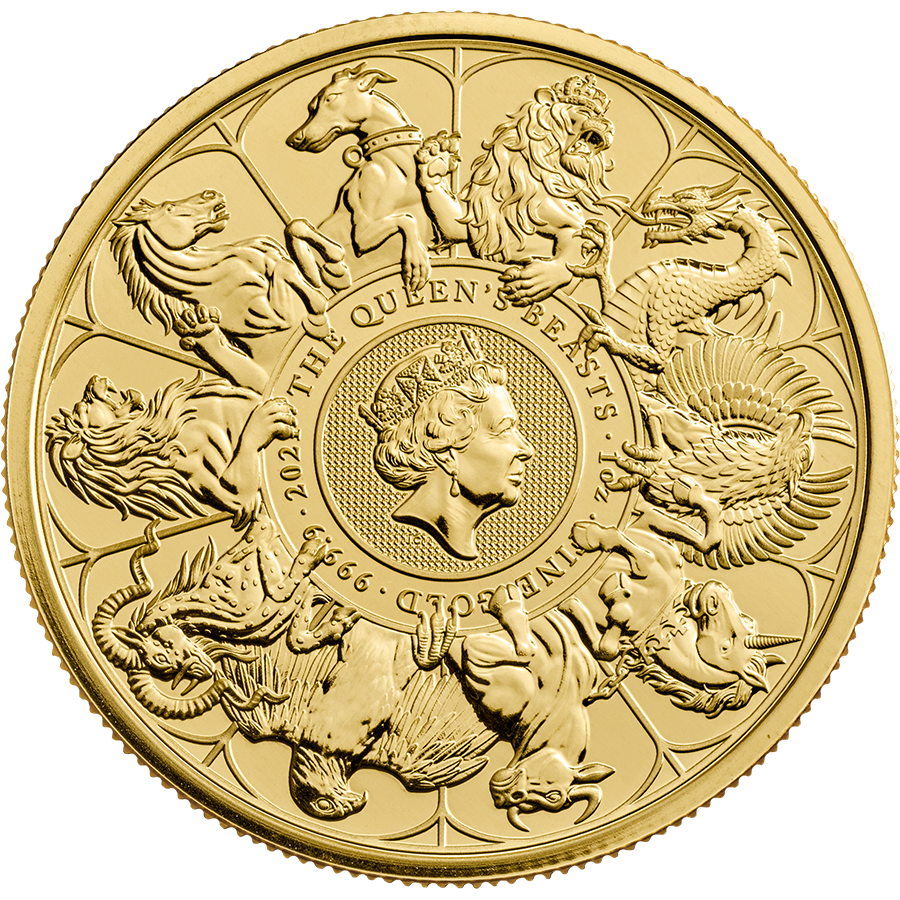 2021 UK Queen's Beasts Completer 1oz Gold Coin - Full Tube of 10 Coins (Image 2)