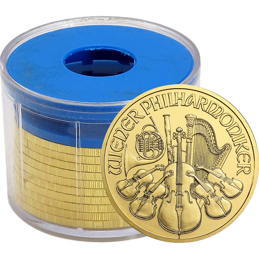 2016 Austrian Philharmonic 1oz Gold Coins in Tube (10 Coins)