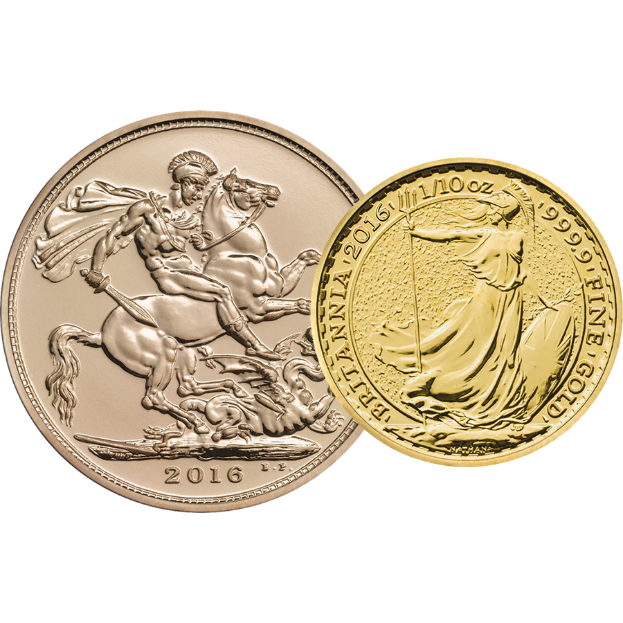 2016 UK Full Sovereign & Britannia 1/10oz Gold Coin Collection