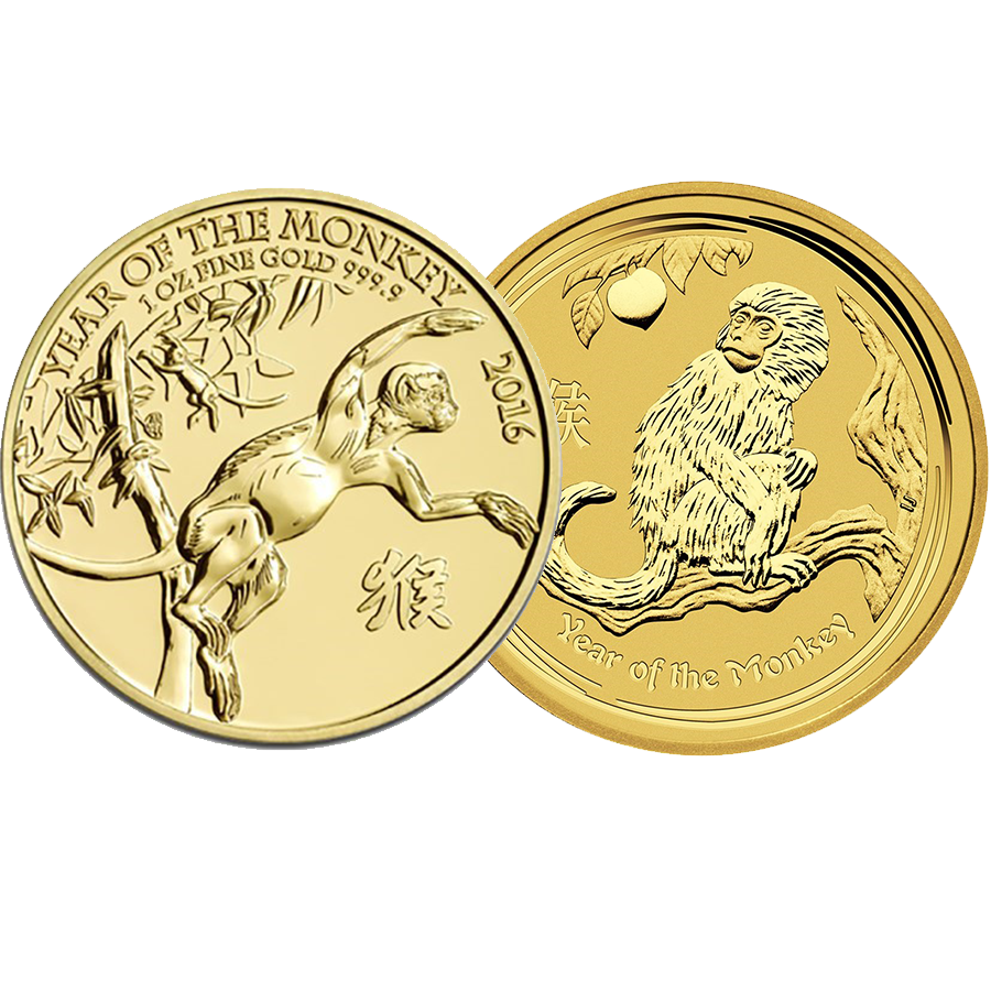 2016 Australian & UK Lunar Monkey 1oz Gold 2 Coin Collection