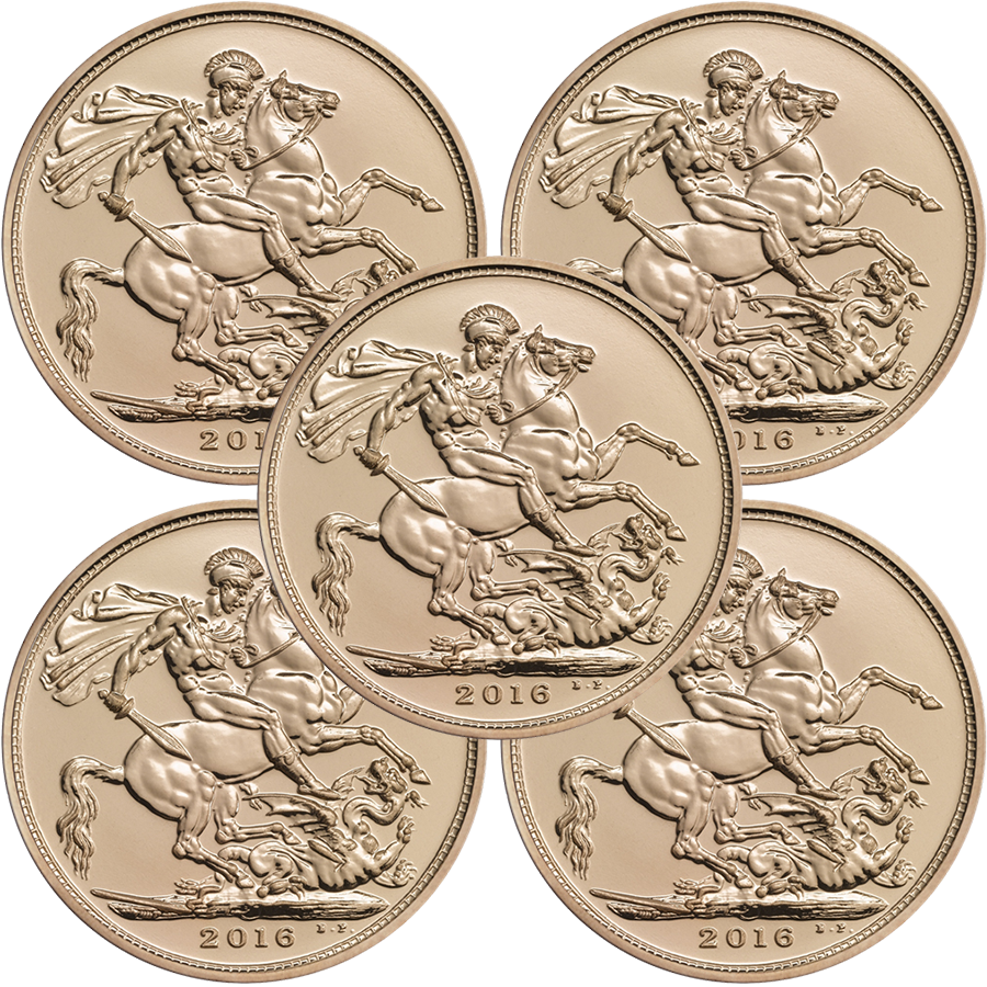 2016 UK Half Sovereign Gold 5 Coin Investment Bundle
