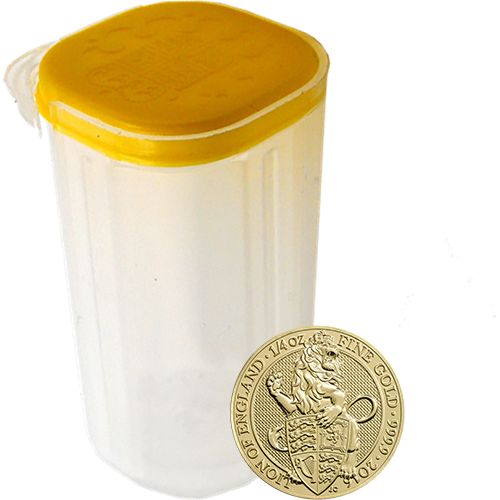 2016 UK Queen's Beasts The Lion 1/4oz Gold Coins in Tube - (25 Coins)