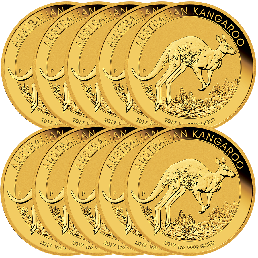 2017 Australian Kangaroo 1oz Gold 10 Coin Bundle