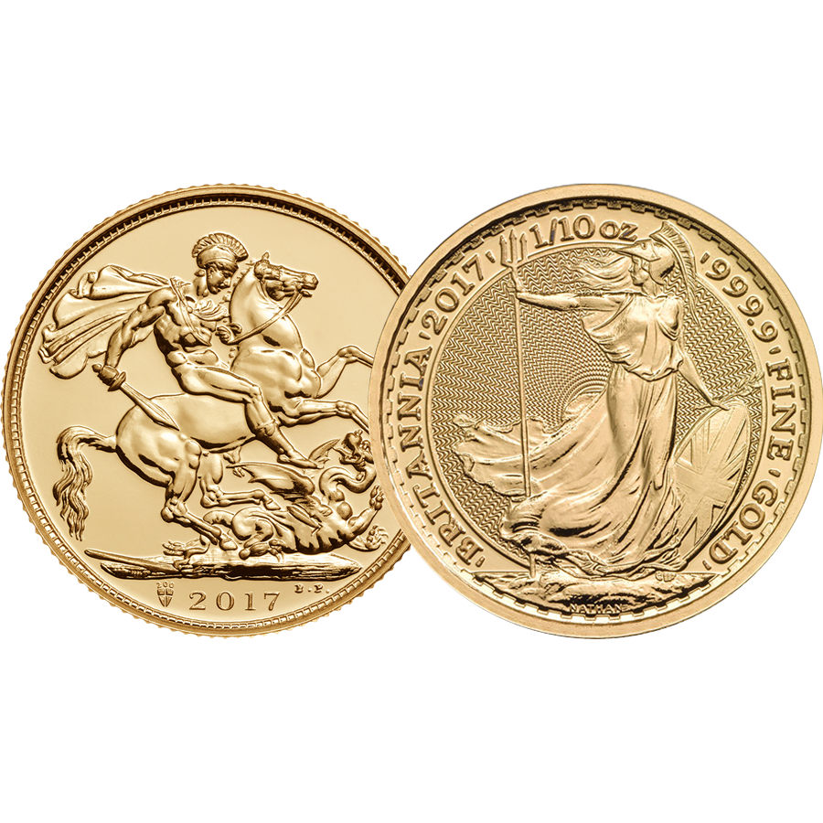 2017 UK Full Sovereign & Britannia 1/10oz Gold Coin Collection