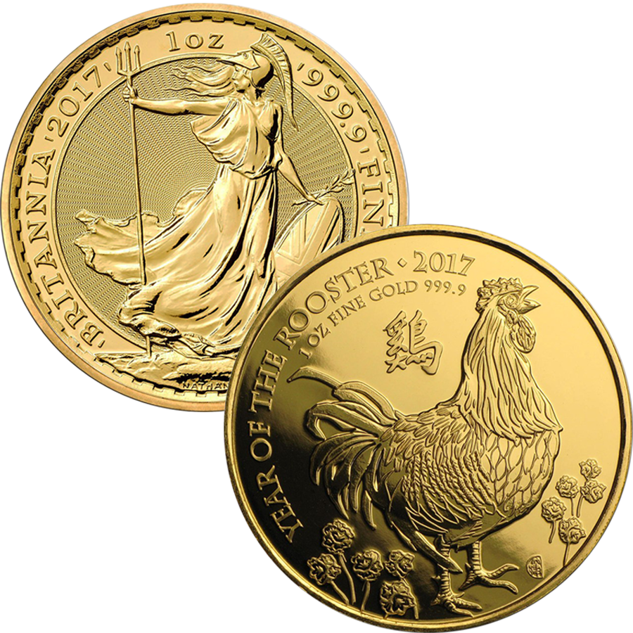 2017 UK Britannia & UK Lunar Rooster 1oz Gold Collection