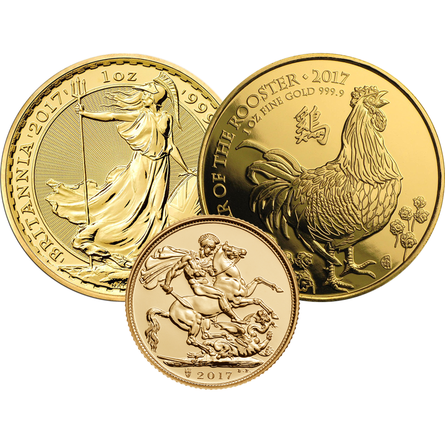 2017 UK Full Sovereign, Britannia & UK Lunar Rooster 1oz Gold Collection