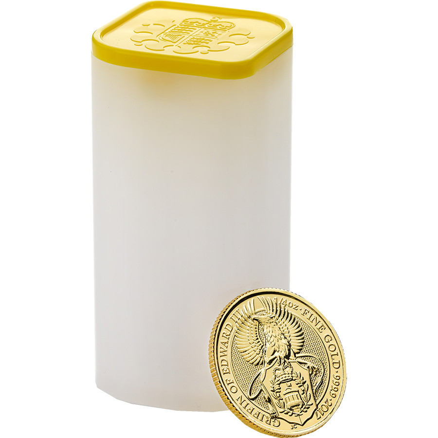 2017 UK Queen's Beasts The Griffin 1/4oz Gold Coins in Tube - (25 Coins)