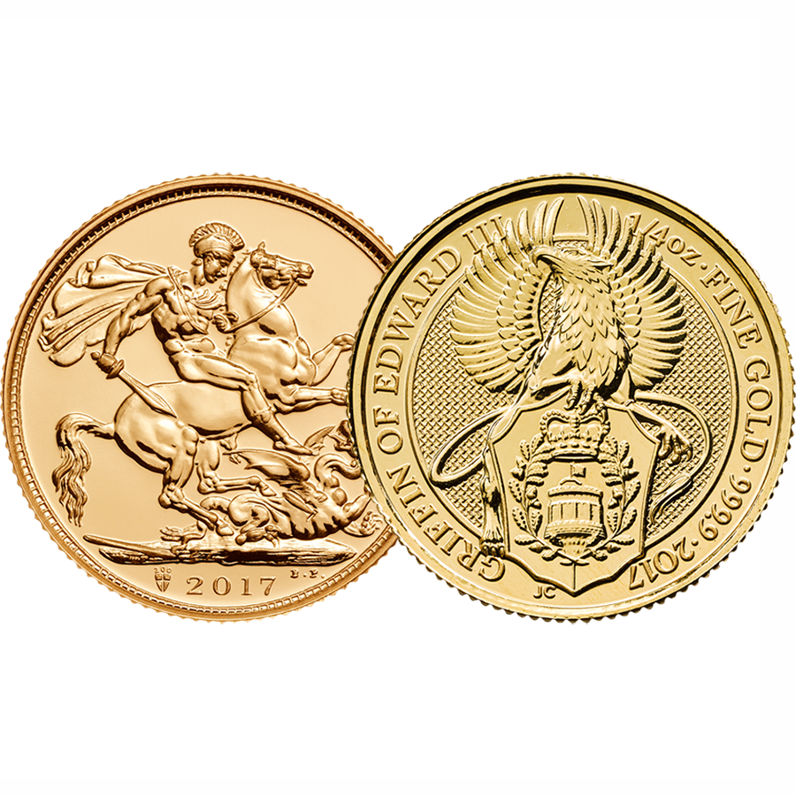 2017 UK Full Sovereign & 2017 Queen's Beasts Griffin 1/4oz Gold Coin Collection