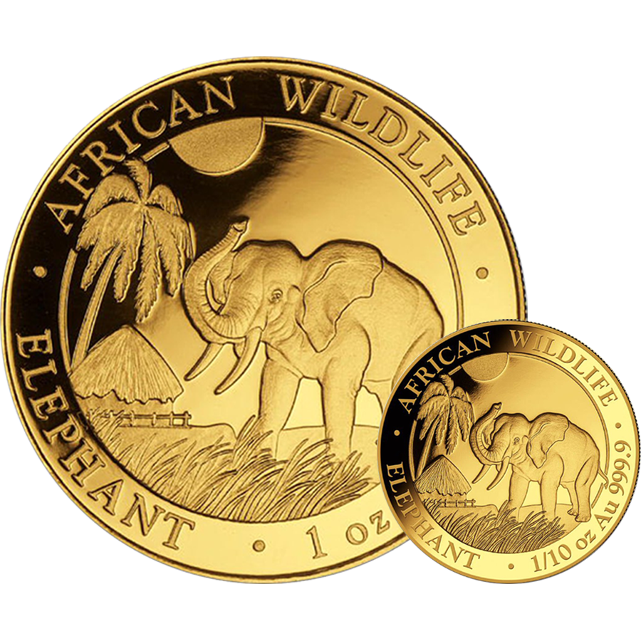 2017 Somalian Elephant 1oz & 1/10oz Gold 2-Coin Collection
