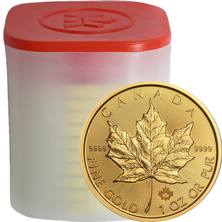2017 Canadian Maple 1oz Gold Coins in Tube - (10 Coins)