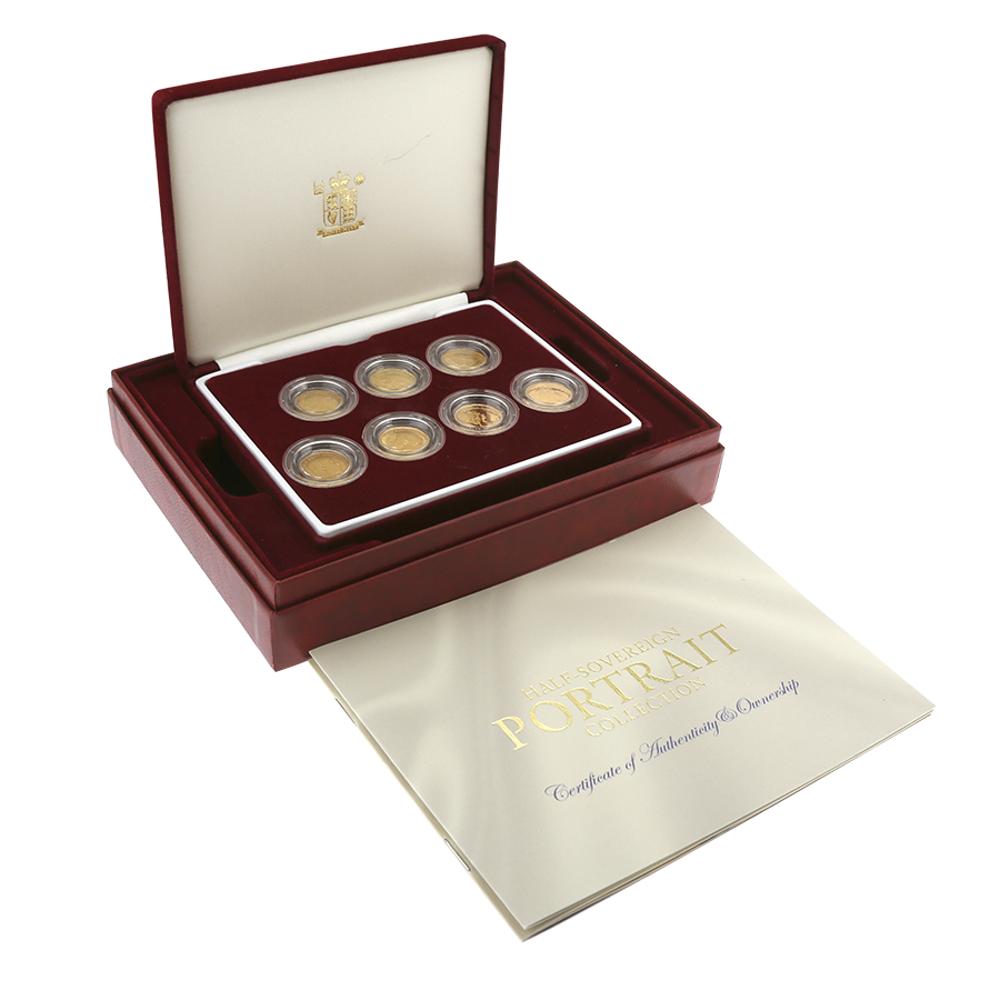 Pre-Owned UK Half Sovereign Portrait 7 Gold Coin Collection