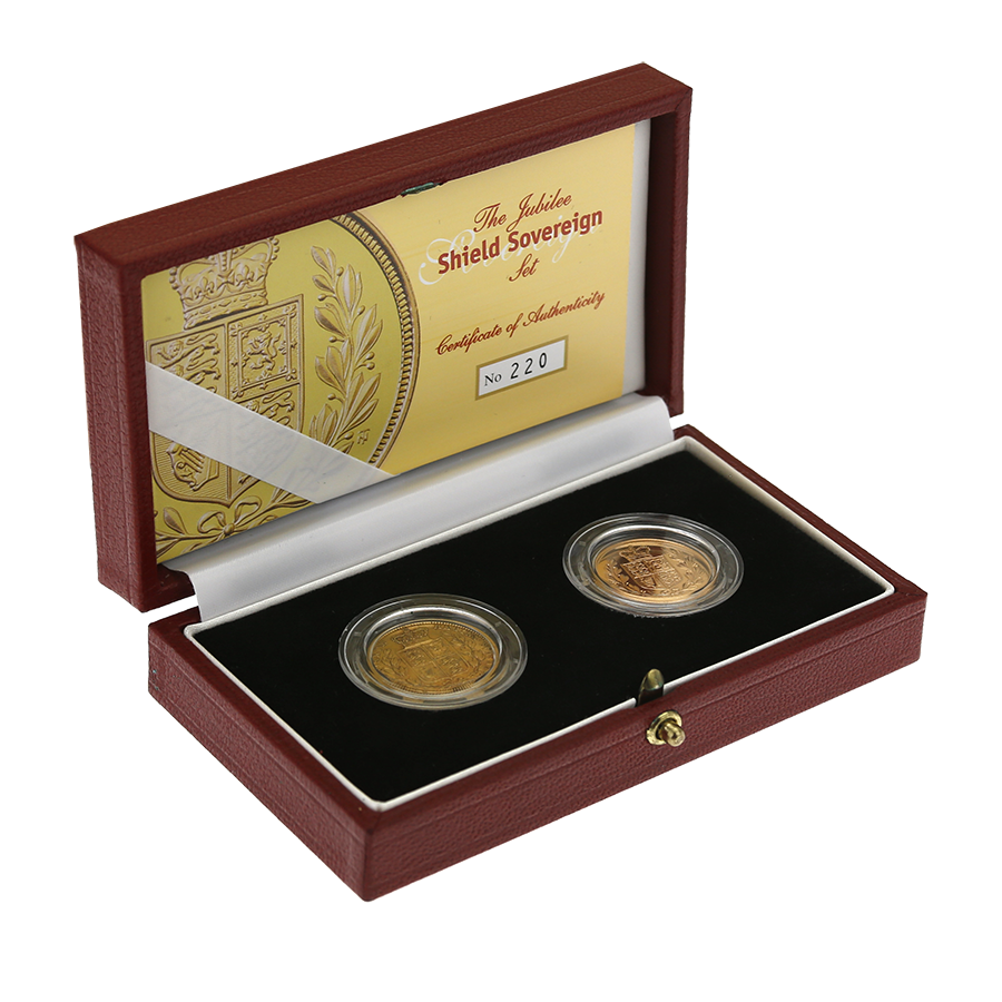 Pre-Owned 2002 UK Jubilee Shield Sovereign Gold Coin Set