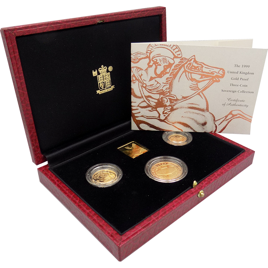 Pre-Owned 1999 UK Proof Full Sovereign Gold 3-Coin Set