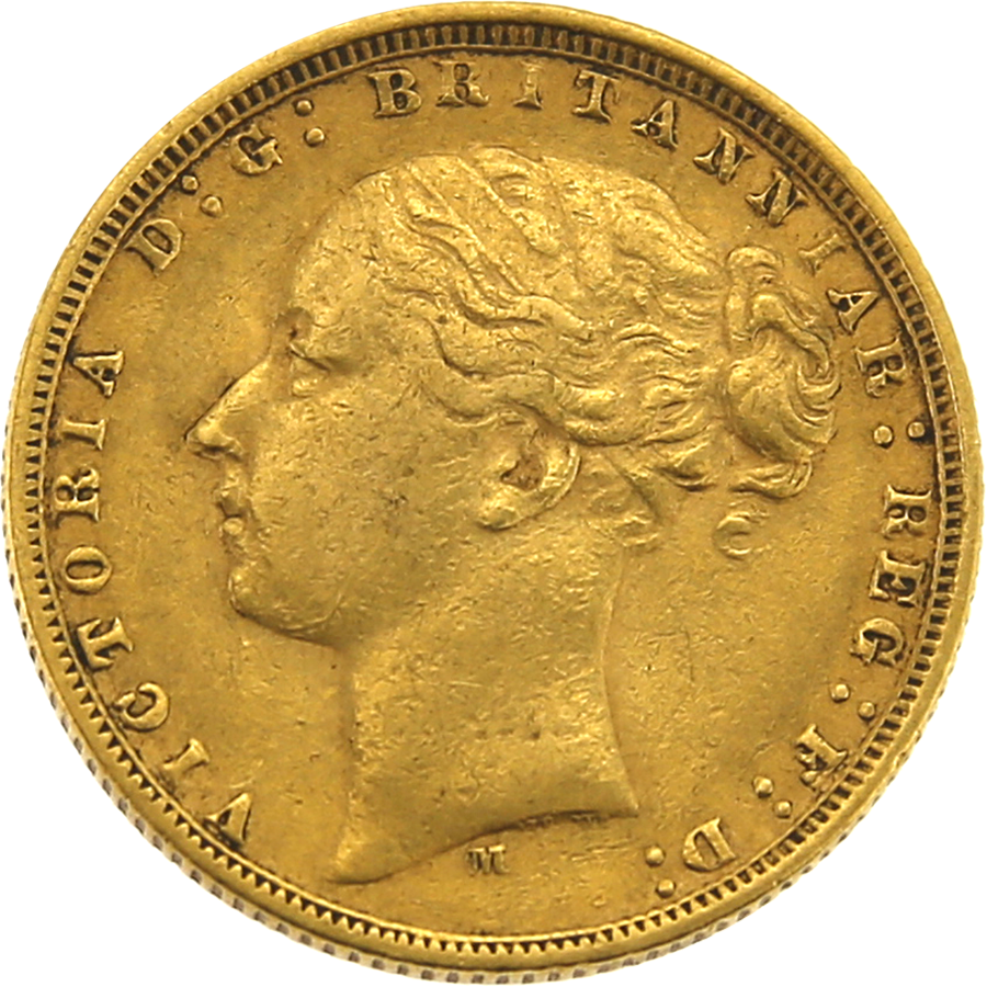 Pre-Owned 1875 Melbourne Mint Victoria Young Head Full Sovereign Gold Coin