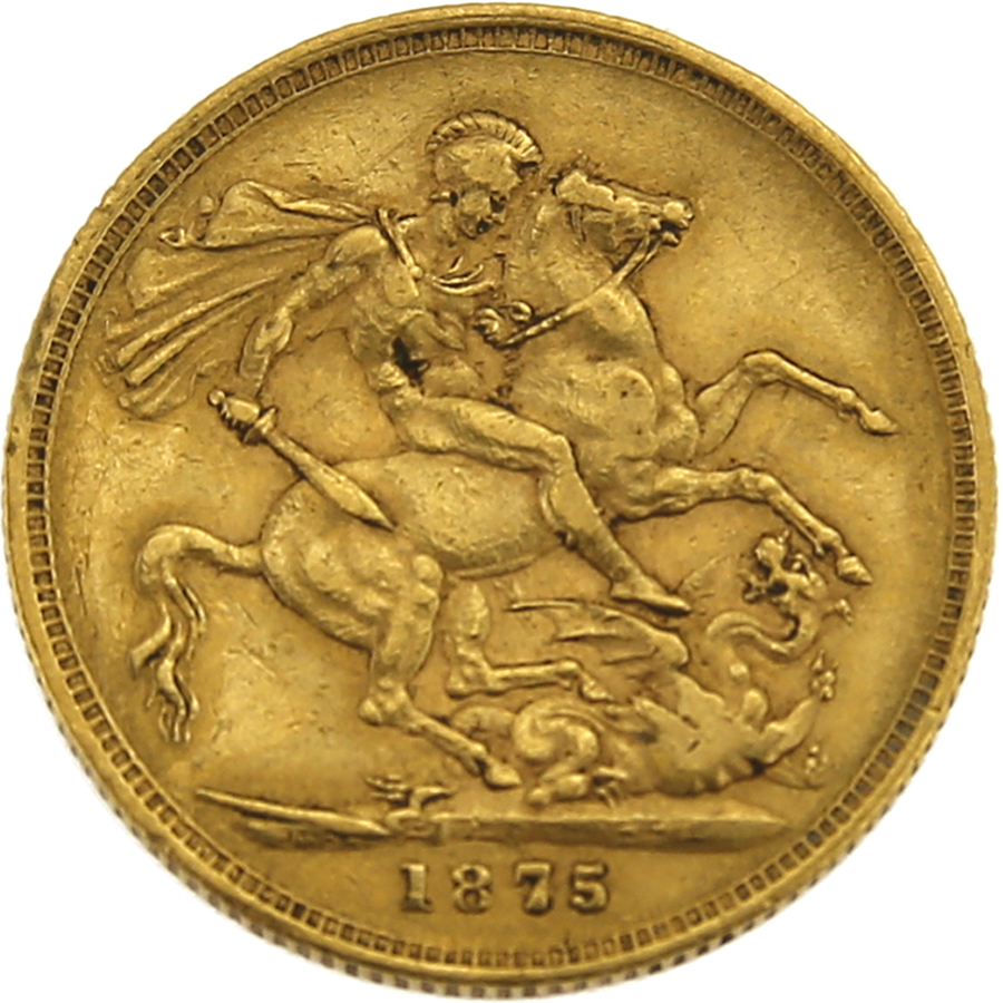 Pre-Owned 1875 Melbourne Mint Victoria Young Head Full Sovereign Gold Coin (Image 2)