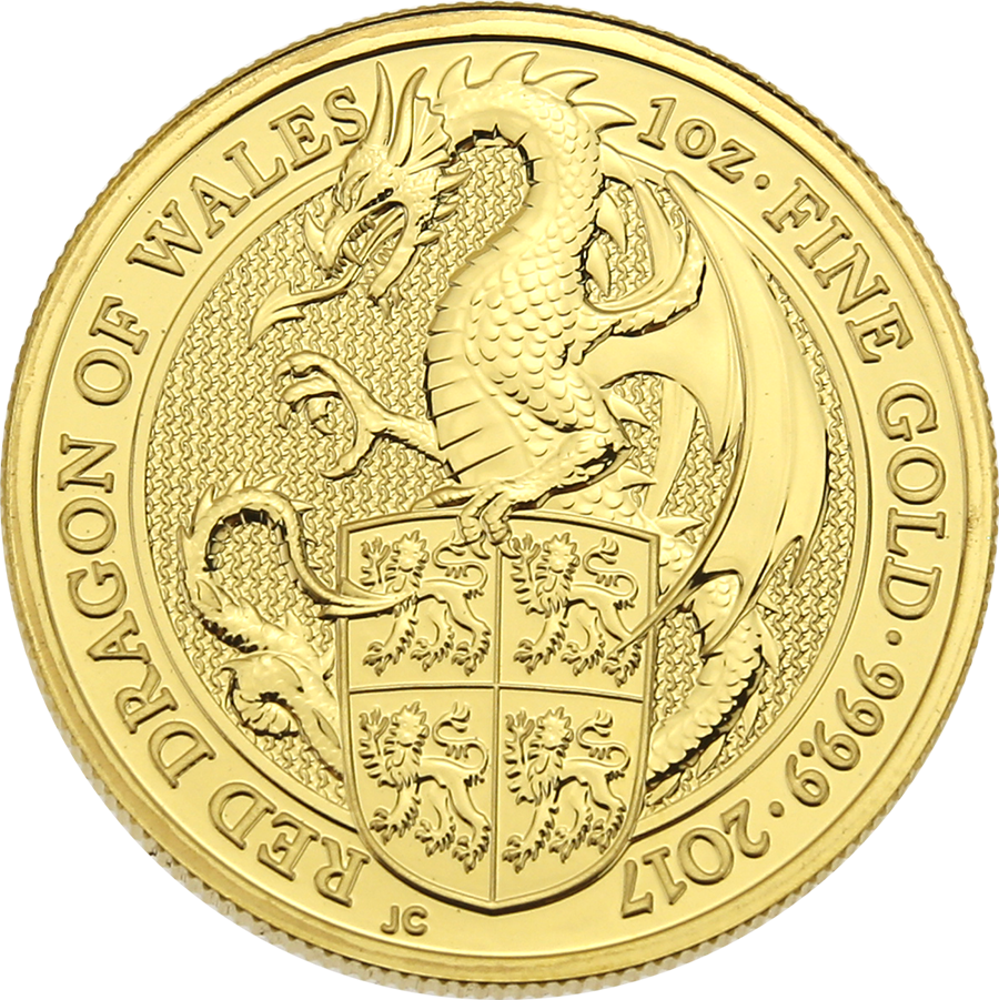Pre-Owned 2017 UK Queen's Beasts The Dragon 1oz Gold Coin