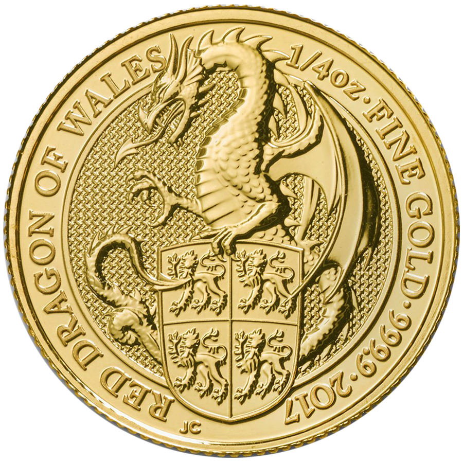 Pre-Owned 2017 UK Queen's Beasts The Dragon 1/4oz Gold Coin